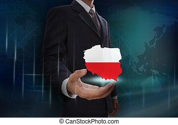 hombre de negocios, actuación, mapa, de, polonia, en, globo,...