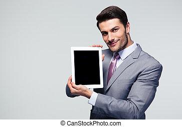 hombre de negocios, actuación, tableta, pantalla de computadora
