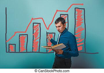 hombre de negocios, actuación, un, hombre, sujetar un libro, en, un, gráfico, empresa / negocio, gro