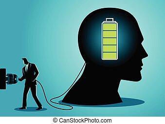 hombre de negocios, adeudo en cuenta, cerebro