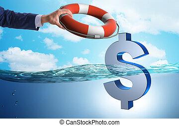 hombre de negocios, ahorro, dólar americano, moneda, de,...