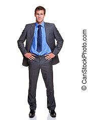 hombre de negocios, aislado, caderas, manos