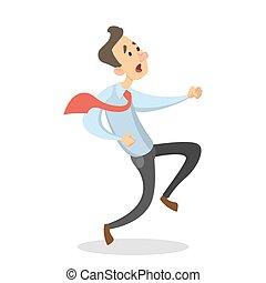 hombre de negocios, aislado, running.