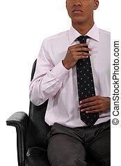 hombre de negocios, ajuste, el suyo, corbata