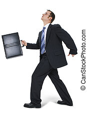 hombre de negocios, ambulante, con, maletín