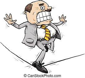 hombre de negocios, ambulante, cuerda de equilibrista