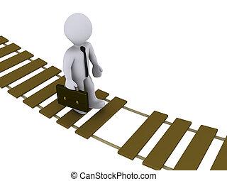hombre de negocios, ambulante, en, dañado, puente