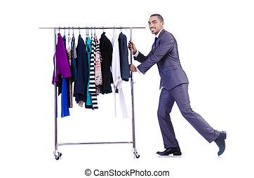 hombre de negocios, anaquel ropa
