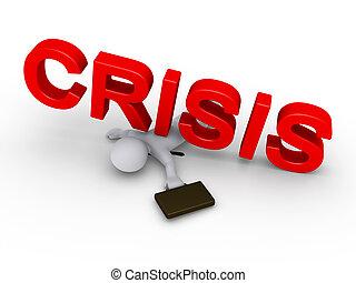 hombre de negocios, aplastado, por, crisis, palabra