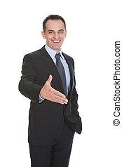 hombre de negocios, apretón de manos, ofrecimiento