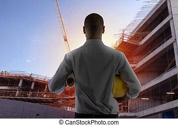 hombre de negocios, arquitecto, analiza, el, trabaja, de, un, edificio