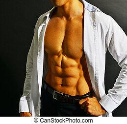 hombre de negocios, asiático, muscular