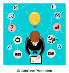 hombre de negocios, asideros, tableta de digital