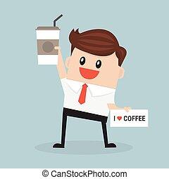 hombre de negocios, asimiento, diseño, coffee., plano