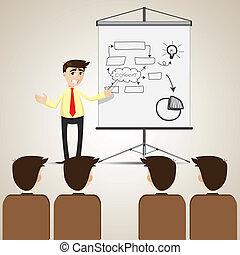 hombre de negocios, audiencia, presentación, caricatura