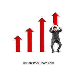 hombre de negocios, ayuda, estadística