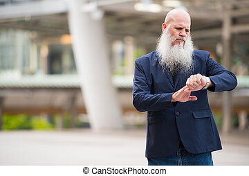hombre de negocios, barbudo, ciudad, verificar, aire libre, ...