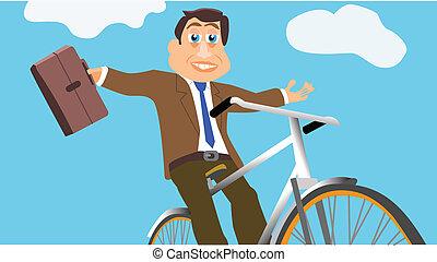 hombre de negocios, bicicleta