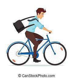 hombre de negocios, bicicleta que cabalga