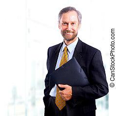 hombre de negocios, blanco, aislado, bacground