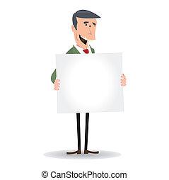 hombre de negocios, blanco, blanco, caricatura, señal