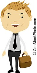 hombre de negocios, bolsa, ilustración, tenencia