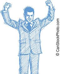 hombre de negocios, bosquejo, arriba, manos
