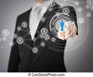 hombre de negocios, botón urgente, con, contacto