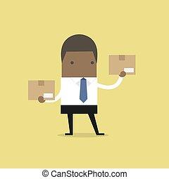 hombre de negocios, box., tenencia, africano