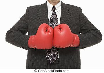 hombre de negocios, boxeo, gloves.