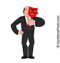 hombre de negocios, bueno, cara, y, mal, mask., vector, ilustración