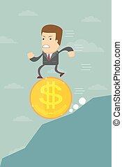 hombre de negocios, caer, en, un dólar, moneda