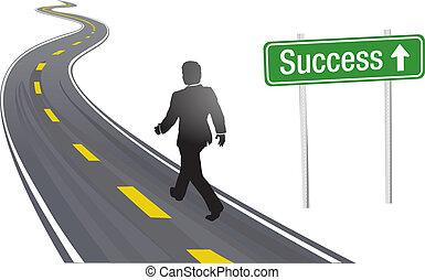 hombre de negocios, caminata, muestra del camino, a, éxito