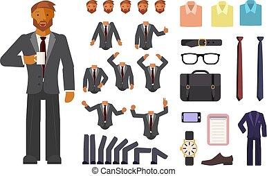 hombre de negocios, carácter, creación