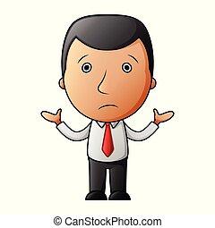 hombre de negocios, caricatura, confuso
