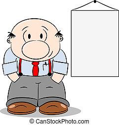 hombre de negocios, caricatura, feliz
