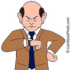hombre de negocios, caricatura, irritado