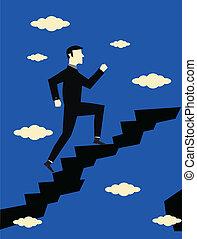 hombre de negocios, carrera, crecimiento