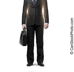 hombre de negocios, cartera negra, traje