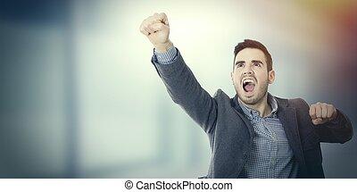 hombre de negocios, celebrar, éxito
