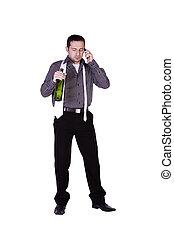 hombre de negocios, celebrar, con, un, botella, de, bebida