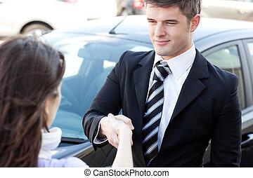hombre de negocios, colega, el suyo, seguro, reunión