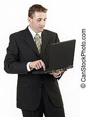 hombre de negocios, computador portatil, 2