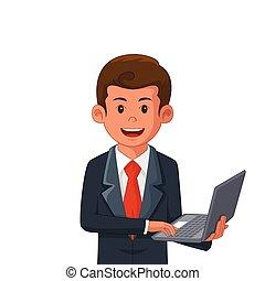 hombre de negocios, computador portatil, tenencia, ilustración