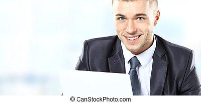 hombre de negocios, computador portatil, utilizar