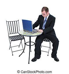 hombre de negocios, computadora