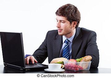 hombre de negocios, computadora, trabajando
