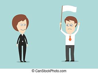 hombre de negocios, con, bandera blanca, conceded, derrota