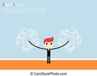 hombre de negocios, con, blanco, para, éxito, vector, ilustración