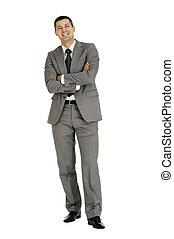 hombre de negocios, con, brazos doblados